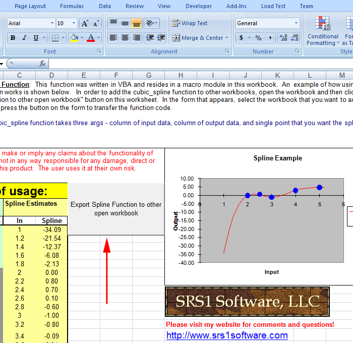 How to transfer the SRS1 Cubic Spline for Excel function to