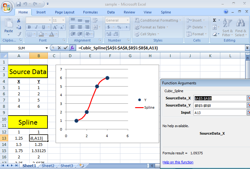 SRS1 Cubic Spline for Excel