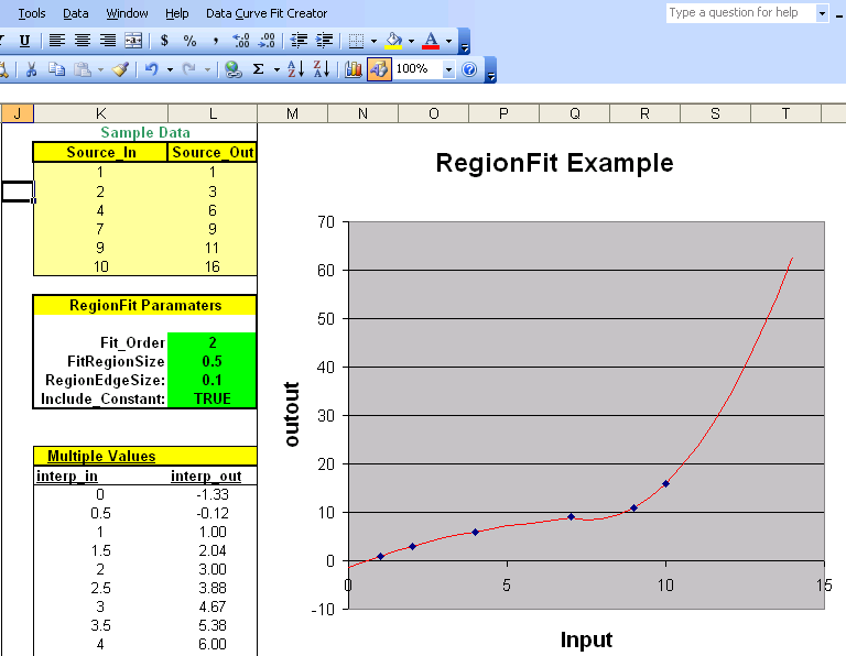 Data Curve Fit Creator Add-in Screen shot