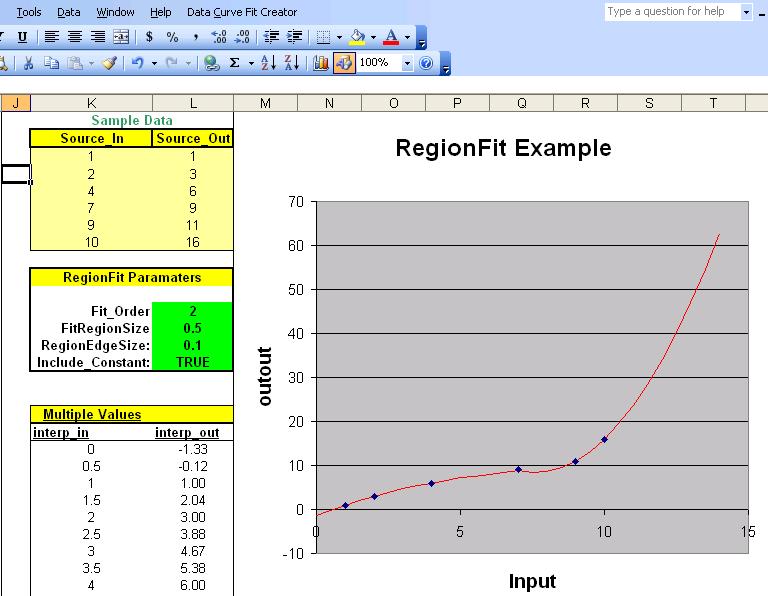 Data Curve Fit Creator Add-in full screenshot
